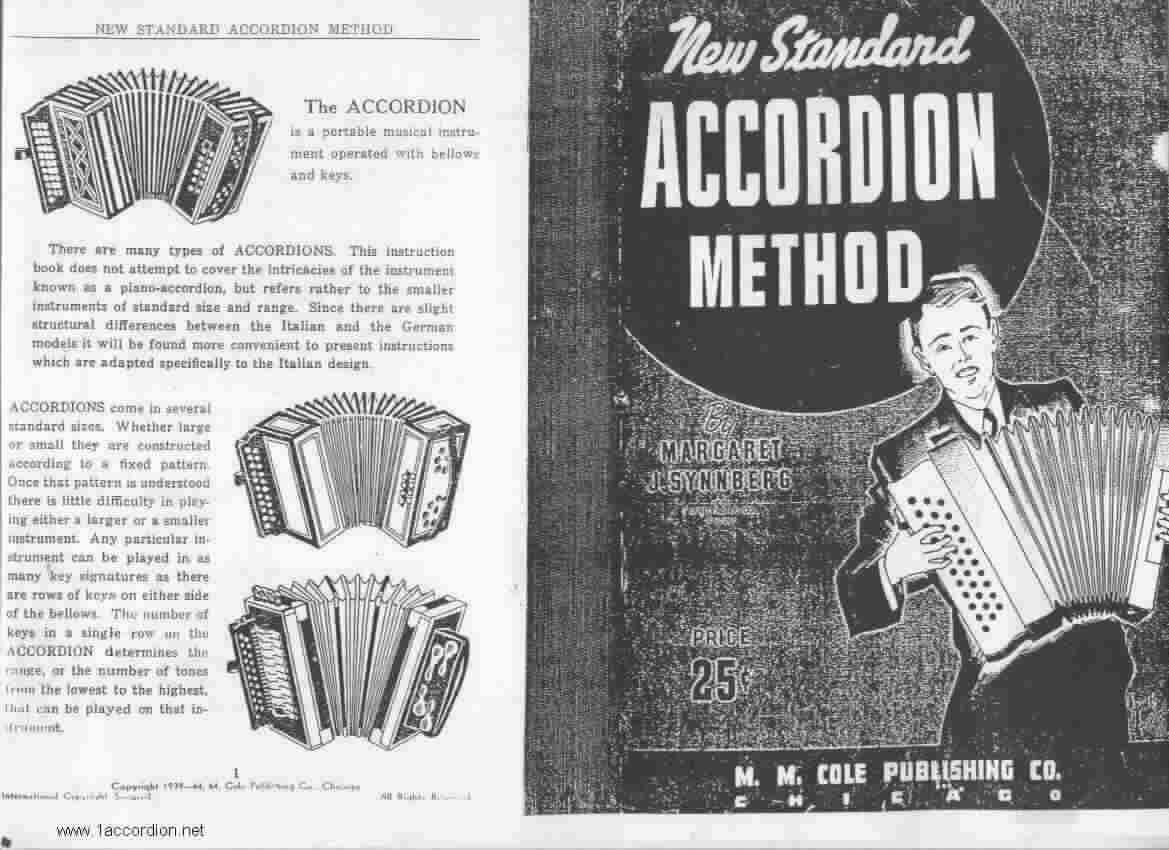 booksCover and 1st page from New Standard Accordion Method